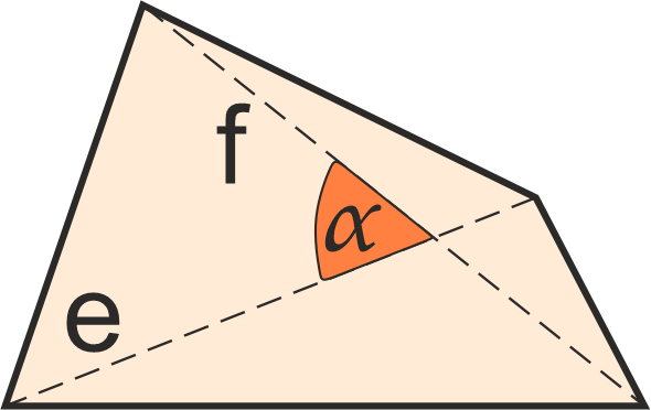 irregular quadrilateral with diagonals and angle between marked