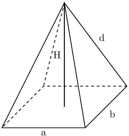 A right rectangular pyramid with notation.