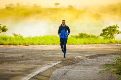 A runner training for a race at an easy pace