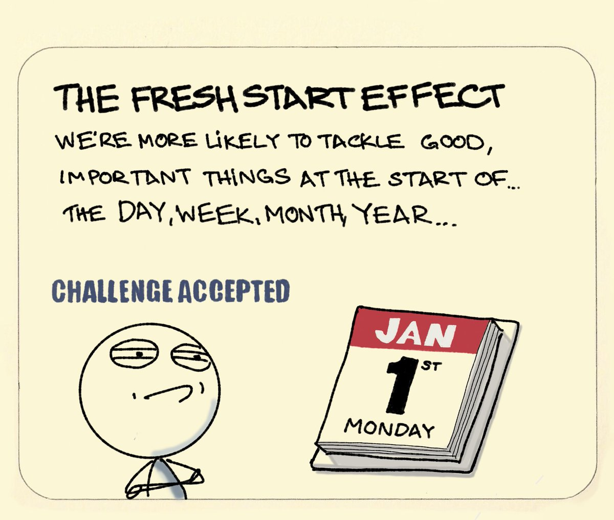 The Fresh Start Effect: we're more likely to tackle good, important things at the start of... the day, week, month, year, ...