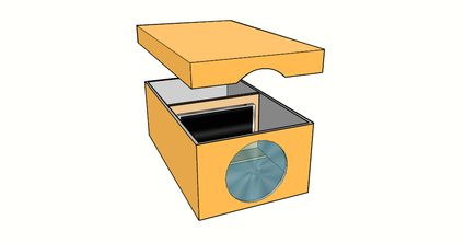 Image of the final DIY smartphone projector with lid lifted up to show the makeshift stand and smartphone inside the shoebox.