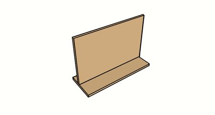 Image of the cardboard pieces to make an inverted T shape.