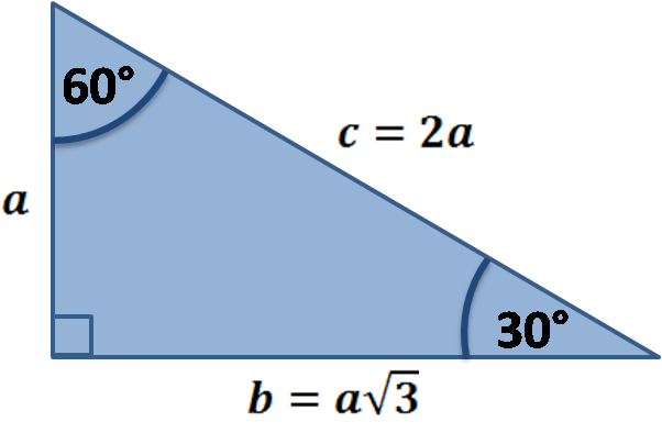 Special right triangle 30-60-90. Derivation using trigonometry.