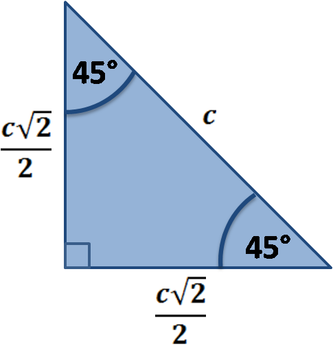 45 45 90 triangle sides illustration