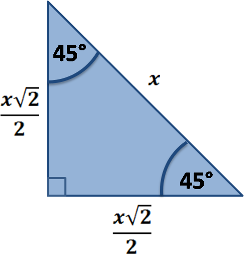 Special right triangle: 45-45-90