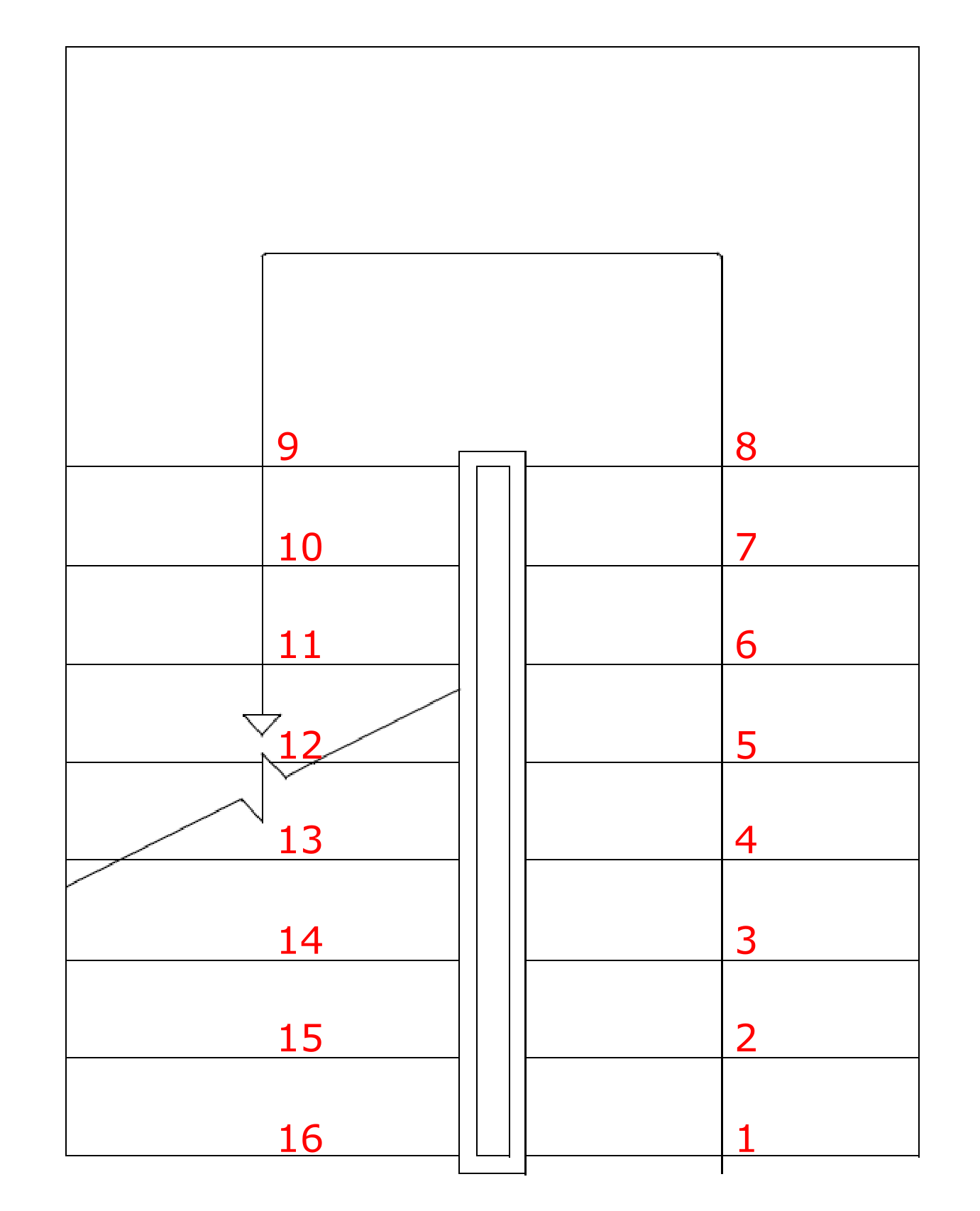 Stairs plan with numbered stairs