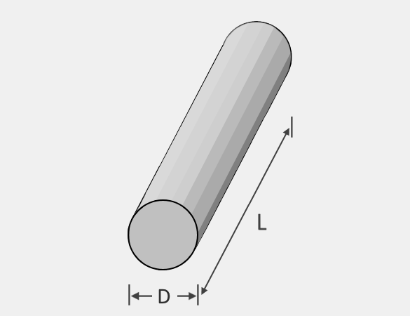 Illustration of a round bar that shows its diameter and length.