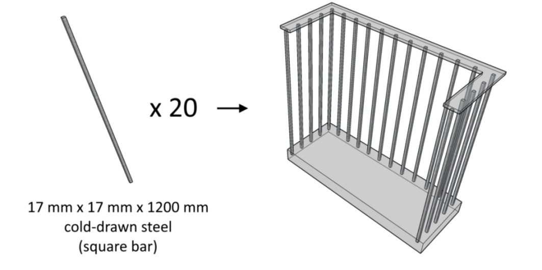 Illustration of a baluster that requires twenty pieces of 1.2-meters long 17-mm square bars.