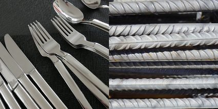 Image of steel products such as kitchen utensils and reinforcing bars or rebars.