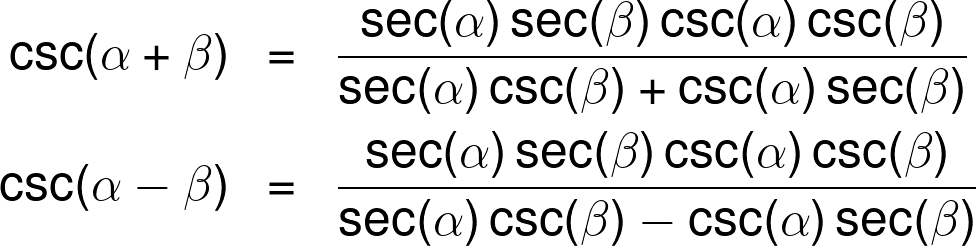 The cosecant sum and difference identities.