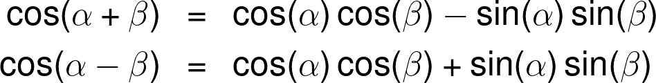 The cosine sum and difference identities.