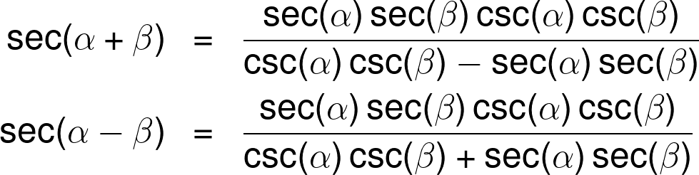 The secant sum and difference identities.