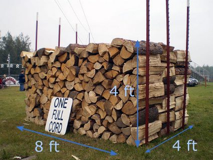 Stack of wooden logs, 8 feet by 4 feet by 4 feet