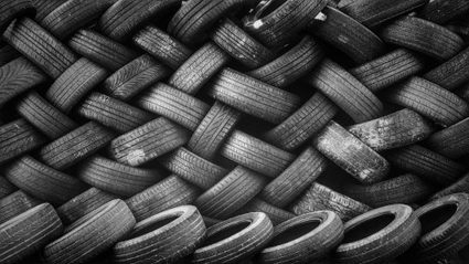 A wall of car tires