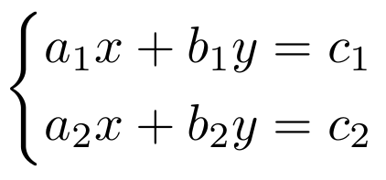 A system with two equations.
