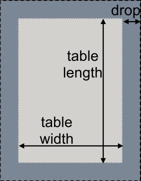 Rectangular table and tablecloth