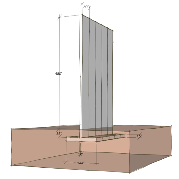 Sketch of a wall element of a proposed design for Donald Trump's Wall