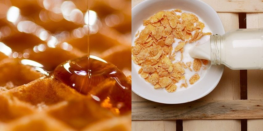 Image of pouring maple syrup onto a waffle and of milk onto a bowl of cereal.