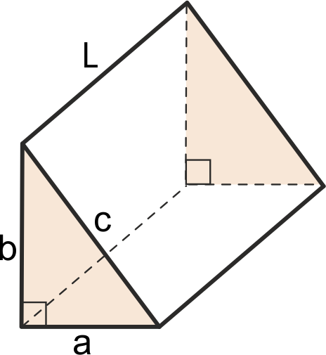 Triangular prism whose base is a right triangle