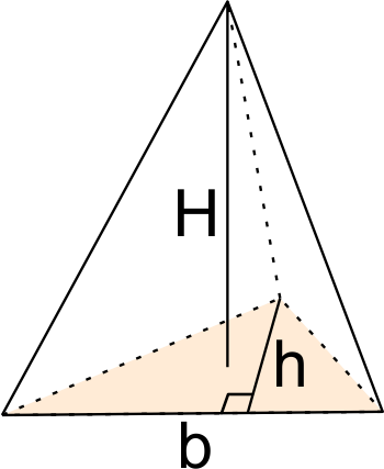 Triangular pyramid whose triangle has known base and height