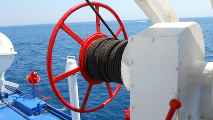 Winch on a ferry boat