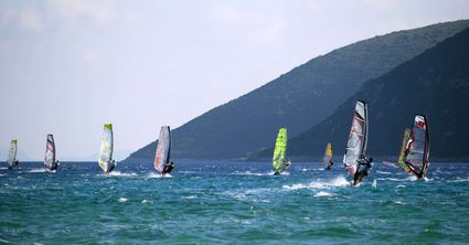 Windsurfing: planing on water